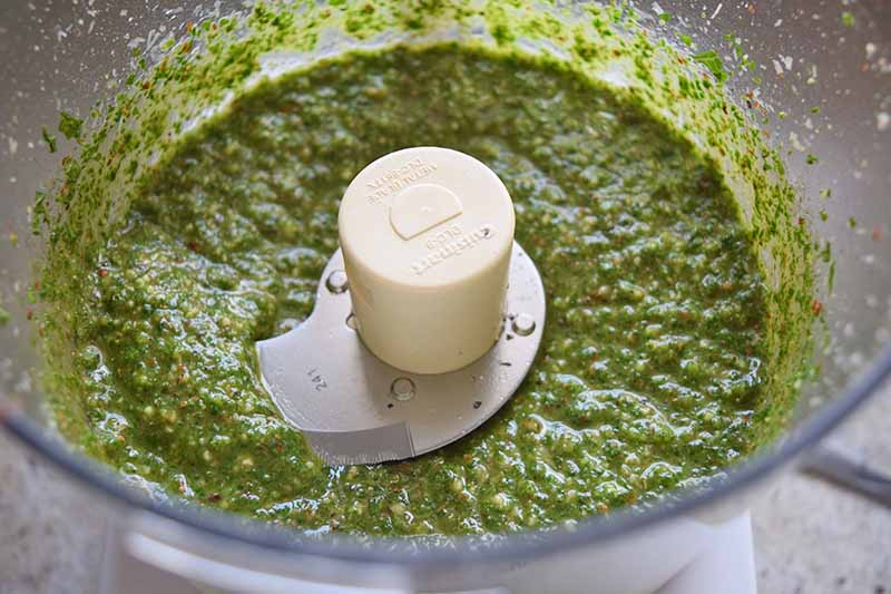 Overhead closely cropped shot of homemade pesto being blended in a Cuisinart food processor, on a beige countertop.
