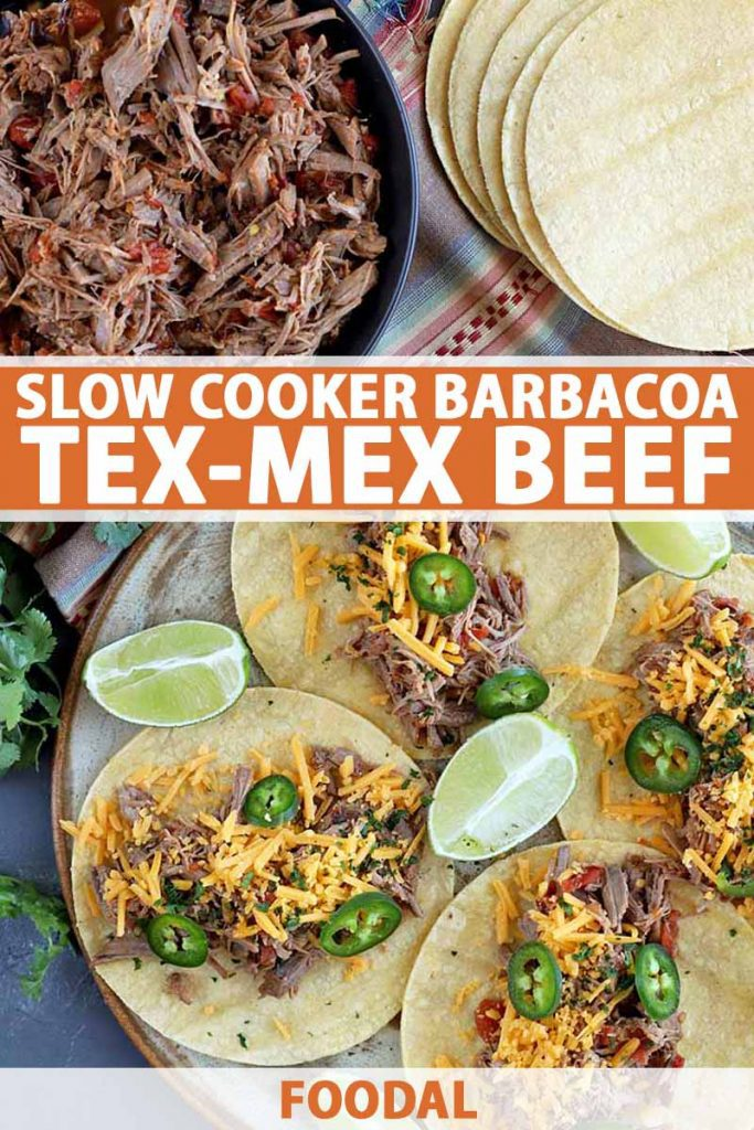 Vertical overhead image of a white plate of shredded beef barbacoa and another plate of four tacos with sliced jalapeno, lime wedges, and shredded cheese, with cilantro and a stack of tortilla, printed with orange and white text at the midpoint and the bottom of the frame.