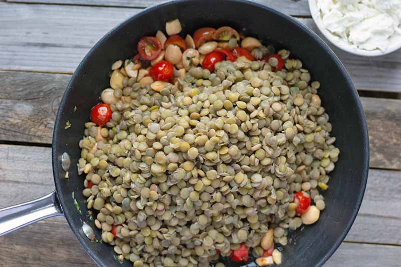 Overhead horizontal photo of a nonstick saucepan of cooked French lentils, halved cherry tomatoes, and chopped blanched almonds, on a wood table with a small dish of nuts.