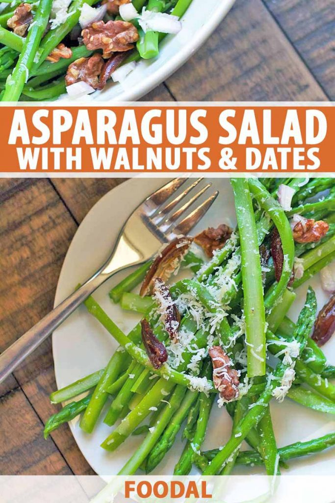 Vertical closely cropped overhead image of a square shallow bowl of asparagus with walnuts, grated cheese, and chopped pitted dates with a fork, on a brown wood surface next to another identical bowl at the top left of the frame, printed with orange and white text in the middle and at the bottom of the image.