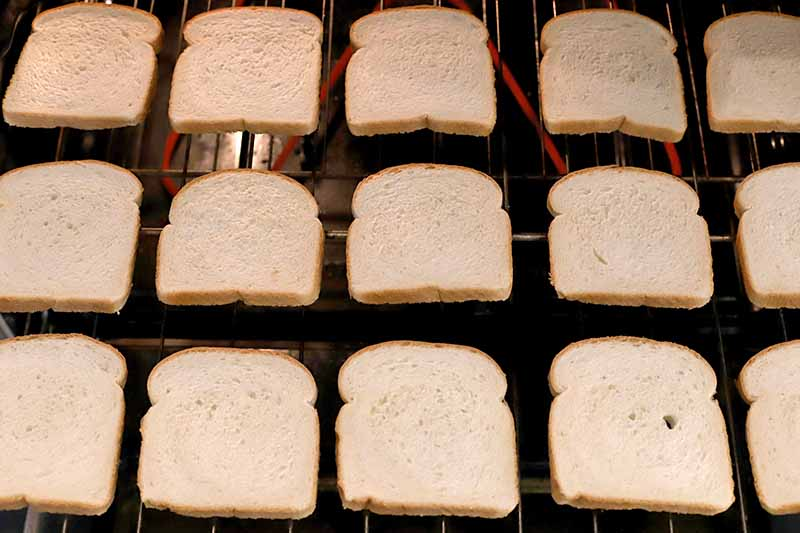 Horizontal image of white bread slices arranged in rows on a baking rack in an oven to test for hot spots.