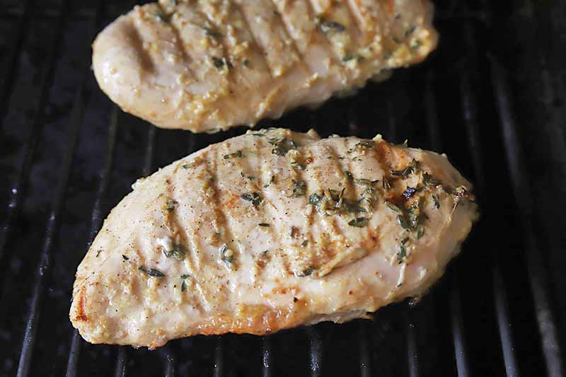 Horizontal image of two chicken breasts cooking on a grill.