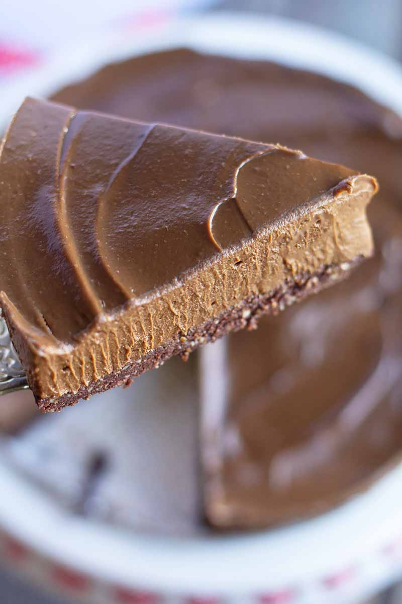 Vertical close-up image of a slice of a chocolate pie on a spatula.