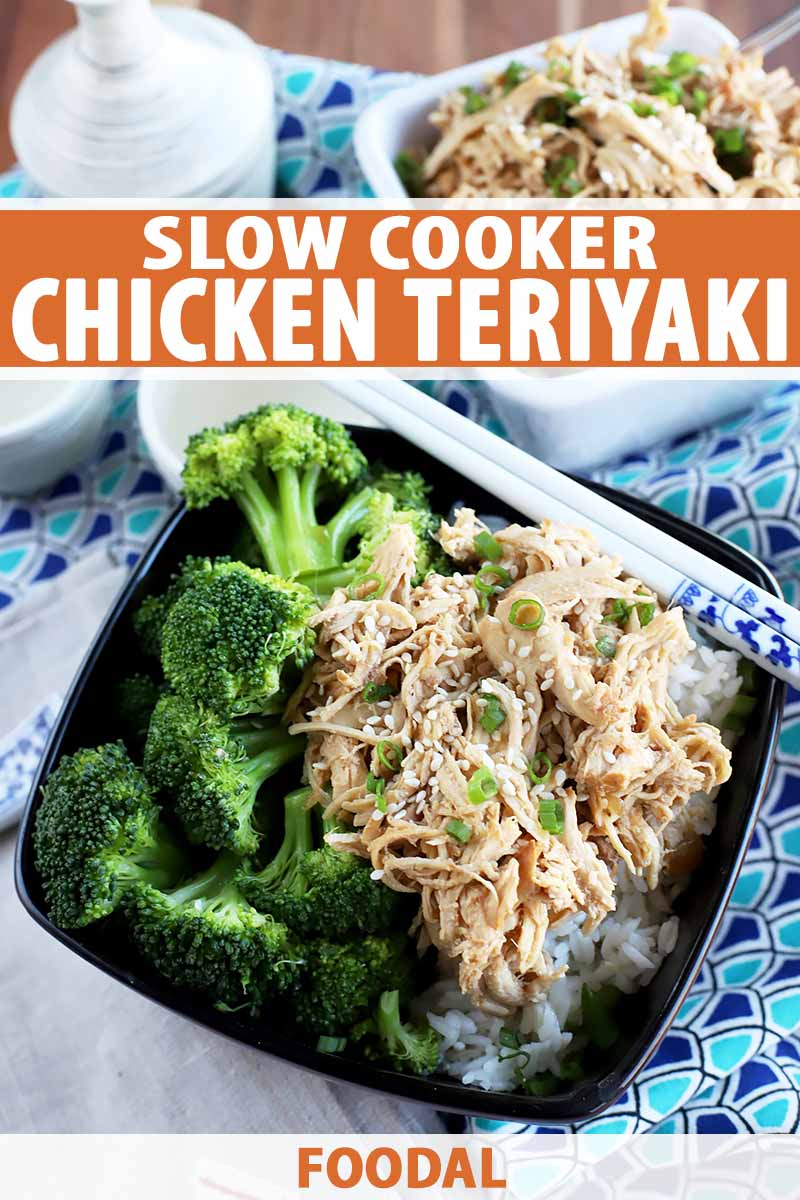 Vertical image of a dish with broccoli and shredded chicken and white chopsticks on the side, with text on the top and bottom of the image.