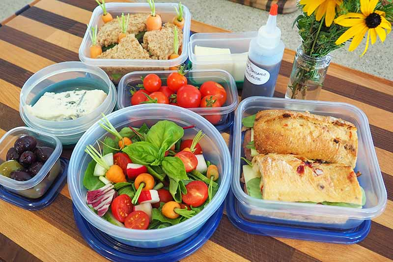 A picnic meal with condiments in safe lock food containers. Flowers decorate the table.