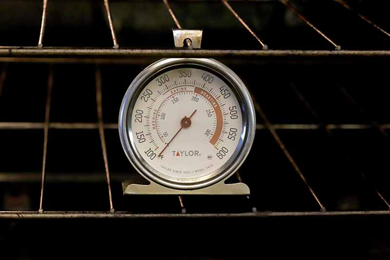 A meta oven thermometer hanging from the rack.