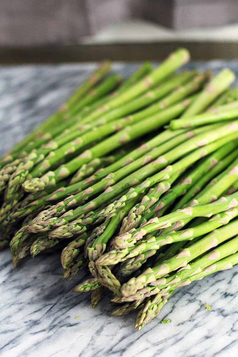 A pile of fresh asparagus on a gray and white marble slab, with a a gray background.