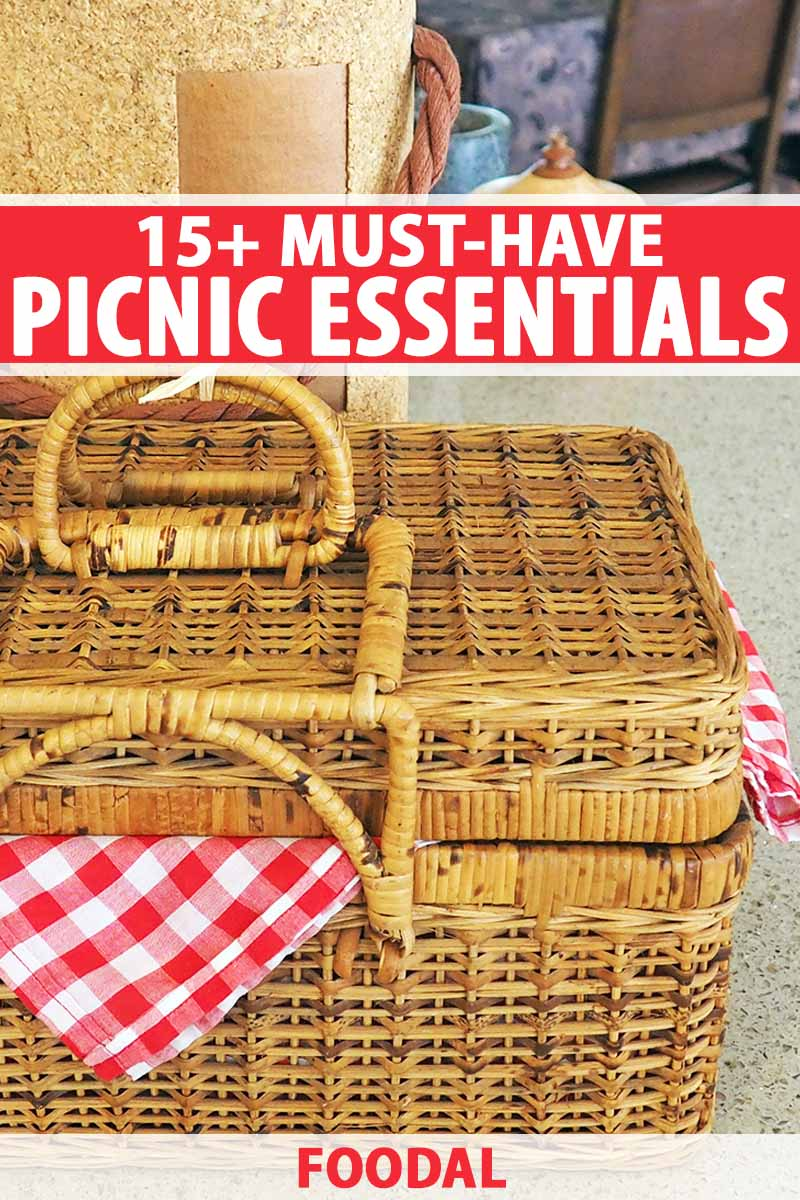 Vertical closely cropped image of a wicker picnic basket lined with a red and white checkered cloth, on a kitchen countertop with a wine cooler and other items in the background, printed with red and white text.