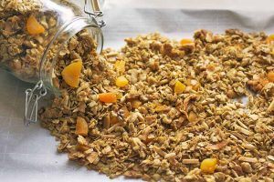 Nutty Cardamom Granola with Dried Apricots for Breakfast