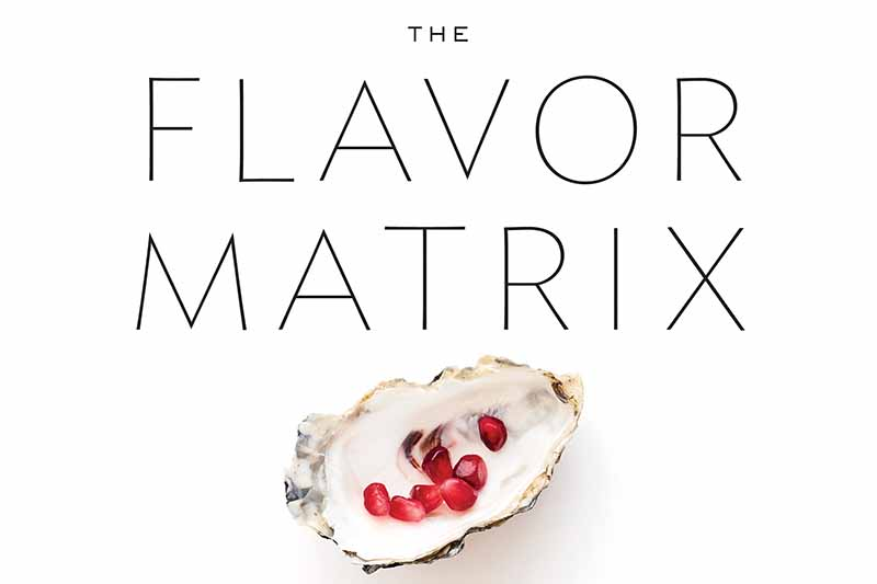 Horizontal image of the front cover of The Flavor Matrix by James Briscione, an oyster shell filled with pomegranate seeds centered at the bottom, with black text on a white background.