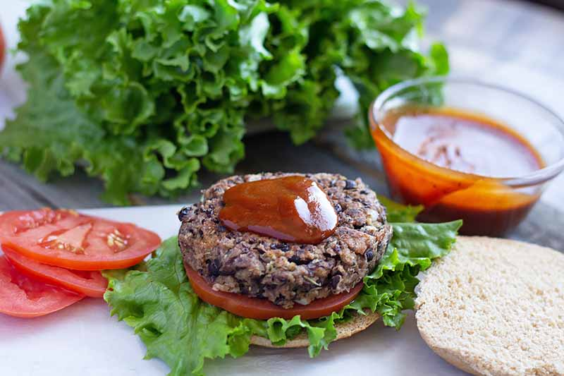 Horizontal image of an open-faced bean burger on top of tomato, lettuce, and a bun and topped with a dollop of red sauce.