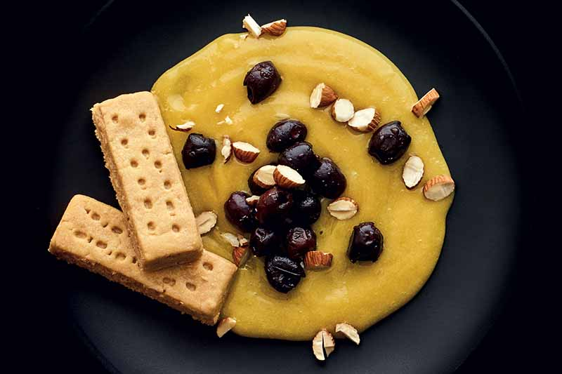 Overhead horizontal image of yellow lemon curd with olives and seeds sprinkled on top, and two shortbread biscuits towards the left of the frame, on a black plate against a black background.