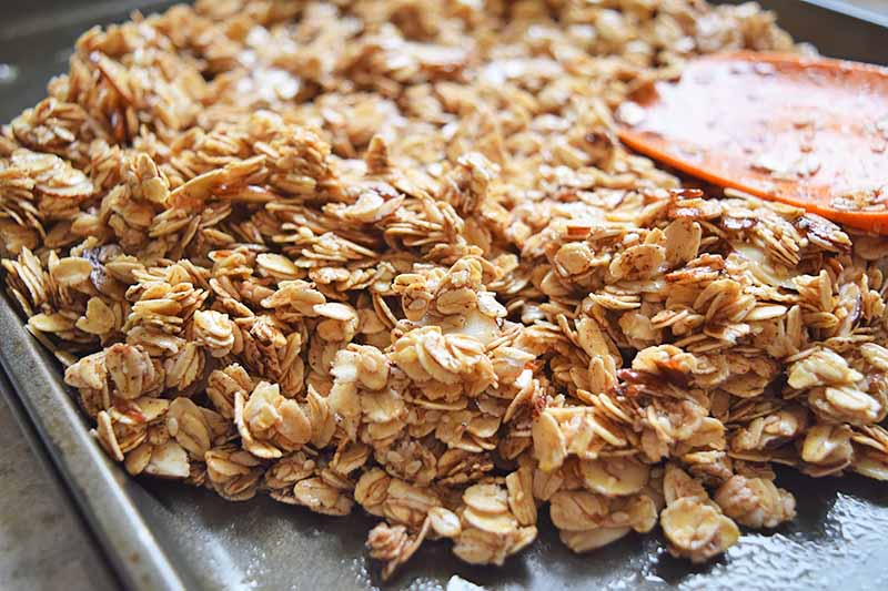 Horizontal image of spreading unbaked granola with a spatula on a sheet pan.