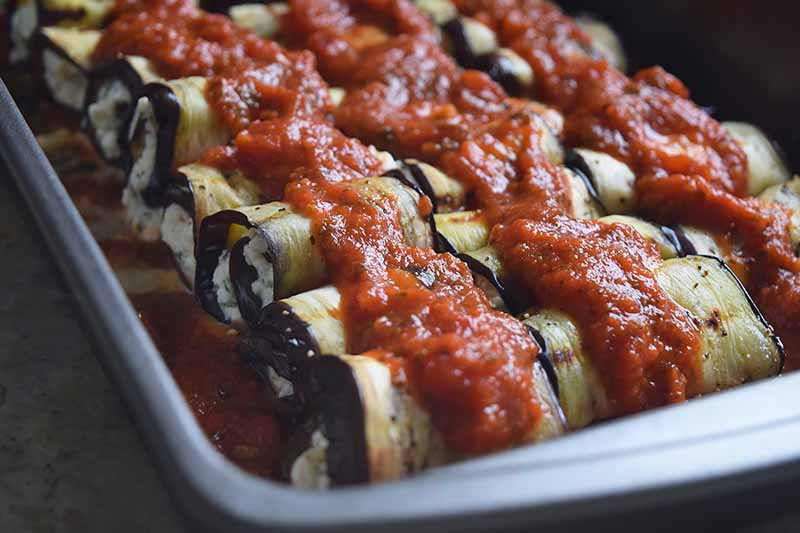 Horizontal image of a casserole dish with individual rounds of thinly sliced vegetables covered in a tomato sauce.