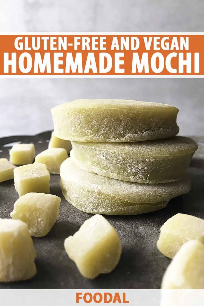 Vertical image of squares and a stack of green mochi, with text on the top and bottom of the image.