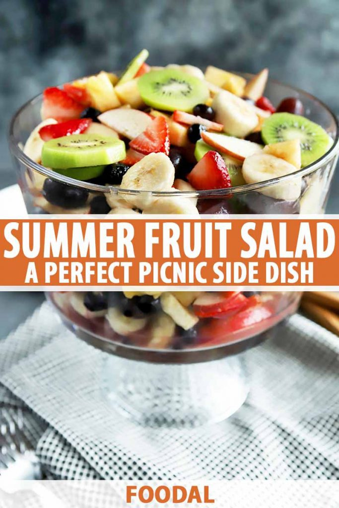 Vertical image of a trifle dish filled with fresh fruits, with text in the middle and bottom of the image.