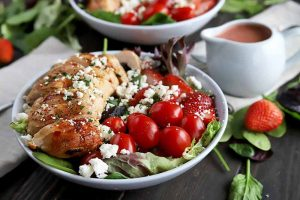 The Most Mouthwatering Grilled Chicken Salad with Strawberry Vinaigrette