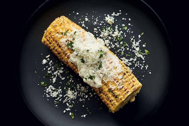 Overhead horizontal image of an ear of roasted corn topped with vanilla butter, minced fresh herbs, and grated cheese, on a black plate against a black background.