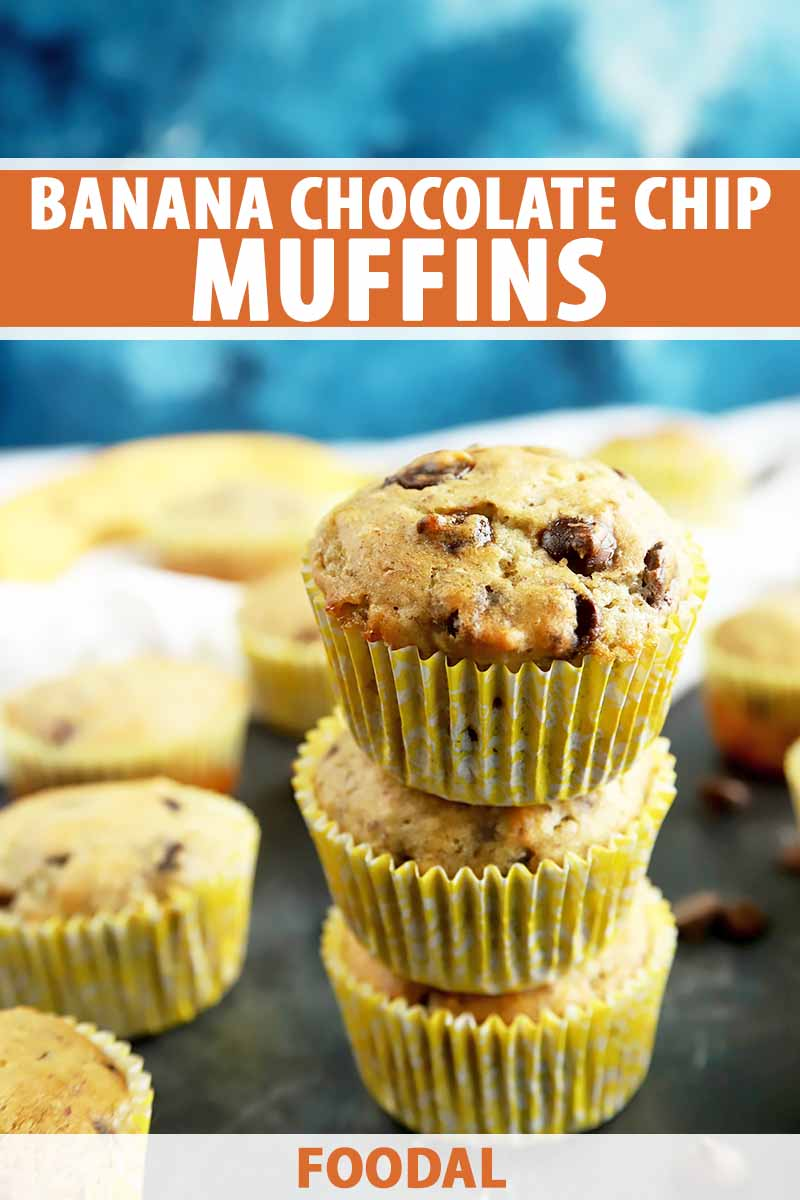 Vertical image of a stack of yellow muffins, with text on the top and bottom of the image.
