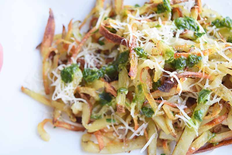 Horizontal close-up image of matchstick cooked potatoes covered with assorted garnishes.