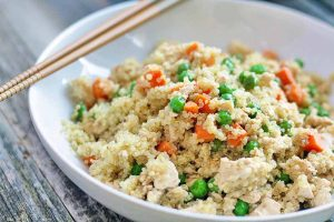 "Quinoa Fried ""Rice"" with Mixed Vegetables for a Quick & Healthy Vegan Meal"