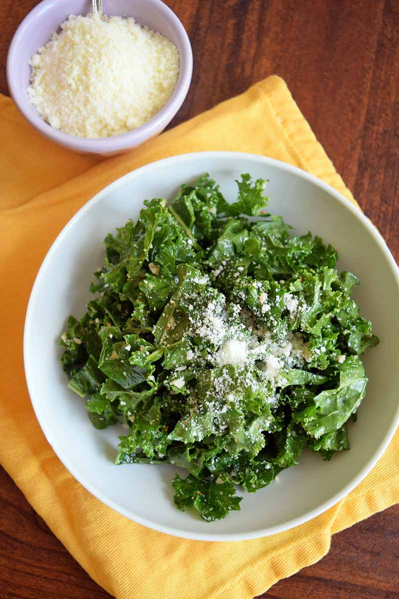Vertical overhead image of a white bowl of kale salad topped with grated Pecorino on a folded yellow cloth, with a small bowl of grated cheese at the top left of the frame, on a brown wood surface.