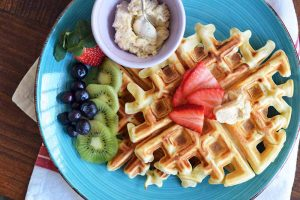 Crispy Homestyle Waffles with Cinnamon-Brown Sugar Butter