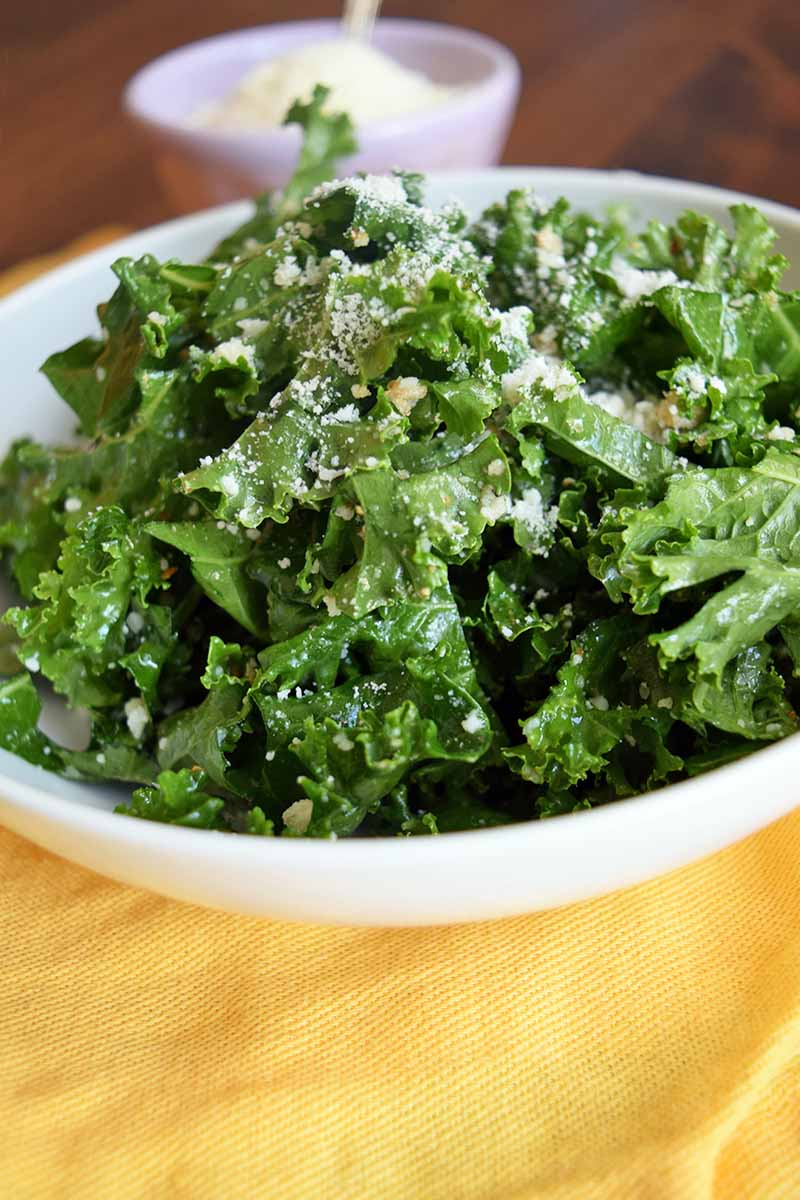 Vertical closely cropped image of a white bowl of kale salad with a small white ceramic bowl of grated cheese in the background, on a yellow cloth on top of a brown wood surface.