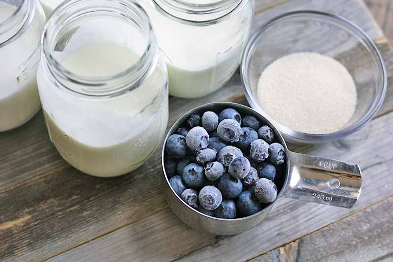 Horizontal image of glass jars filled with milk and a metal cup filled with frozen blueberries.