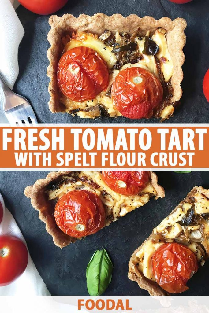 Vertical top down image of sliced pieces of a tomato pastry, with text in the middle and bottom of the image.