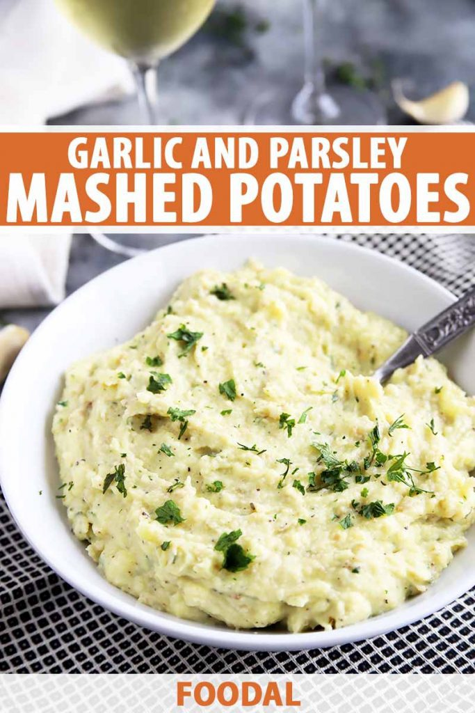 Vertical image of a white bowl with creamy potatoes topped with herbs, with text on the top and bottom of the image.