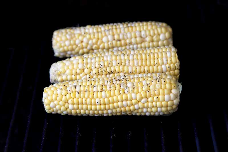 Three ears of corn that have been sprinkled with salt and pepper are grilling on metal grates, with a black background.