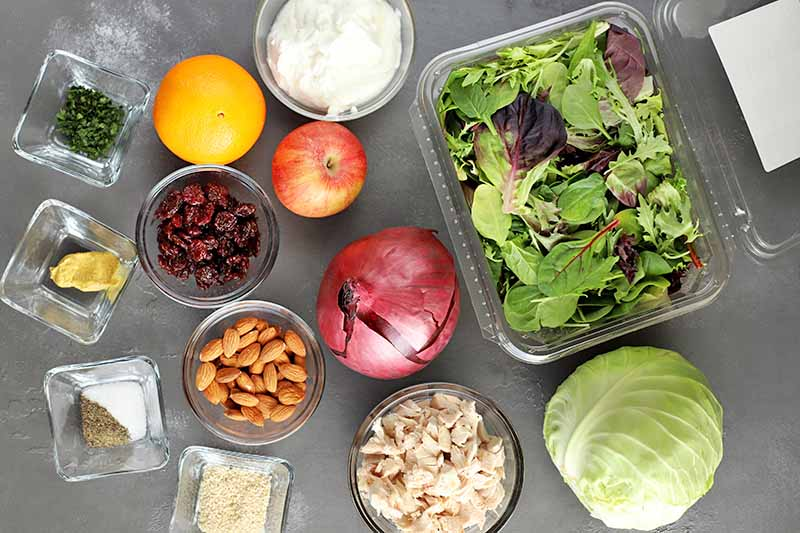 Overhead horizontal image of small square and round glass bowls of chopped herbs and spices, mustard, sesame seeds, almonds, dried cherries, yogurt, and chopped cooked chicken breast, an orange, a red apple, a purple onion, a plastic container of mixed salad greens, and a small head of green cabbage, on a gray surface.