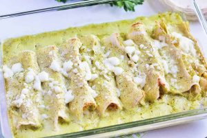 Roasted Cauliflower Enchiladas with Poblano Cream Sauce