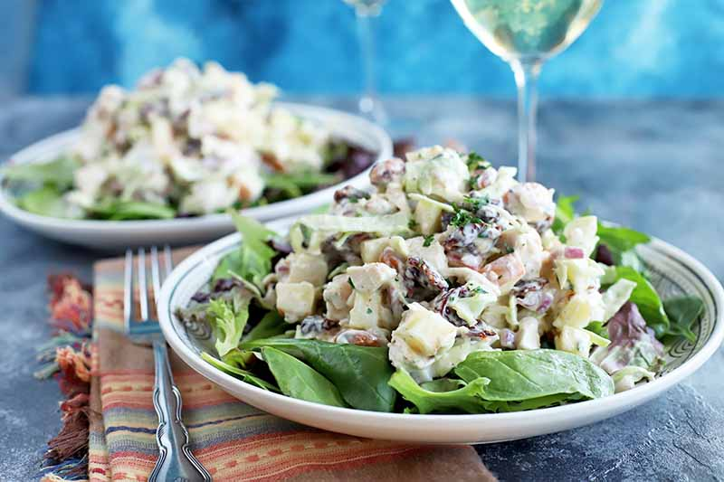 Horizontal head-on image of two white plates of mixed greens and chicken salad, with a folded orange striped cloth napkin and a fork to the left, and a glass of white wine to the right, on a gray surface with a mottled blue background.