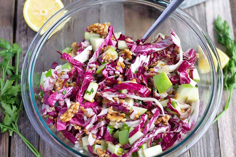 Horizontal overhead image of a grain salad in a glass bowl, made with einkorn, radicchio, Granny Smith apple, and other ingredients, with a utensil for stirring, on an unfinished wood surface with half of a lemon and sprigs of parsley.