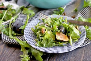 Peppery, Sweet, and Crunchy: Arugula Dijon Salad with Figs, Pistachios, and Pea Shoots