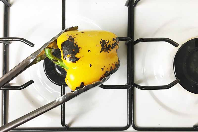 Horizontal image of a lightly charred yellow vegetable on a burner.