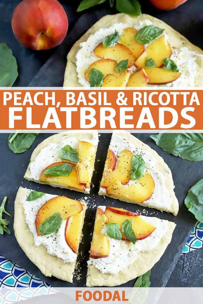 Vertical overhead image of two round flatbreads topped with ricotta, sliced peaches, and basil leaves that have been cut into quarters, on a dark gray surface with two dark and light blue patterned cloth napkin, scattered basil leaves, and two whole peaches, printed with orange and white text near the midpoint and at the bottom of the frame.