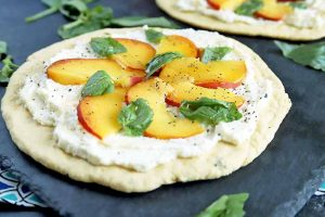 Quick and Easy Peach, Basil & Ricotta Flatbreads