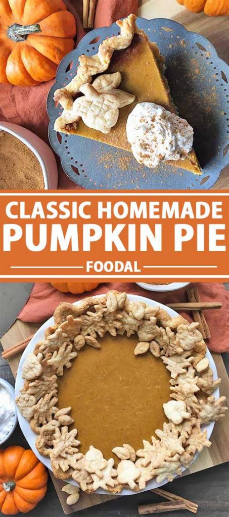 A collage of photos showing different views of a homemade pumpkin pie.
