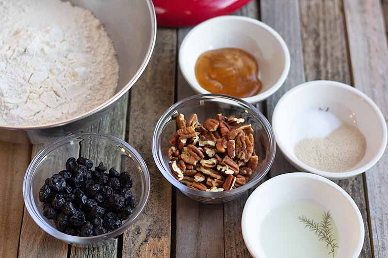 Horizontal image of assorted bowls with pecans, blueberries, yeast, flour, honey, and water.