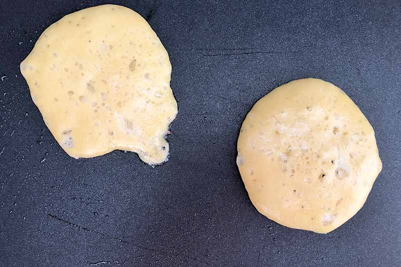 Horizontal image of two rounds of batter on a griddle.