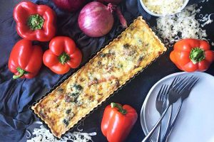Gruyere Quiche with Caramelized Onion and Red Pepper