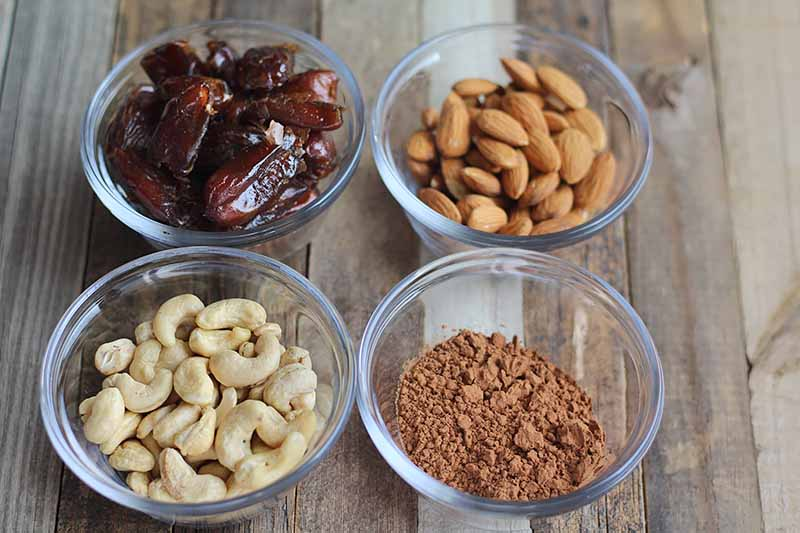 Horizontal image of four bowls of dates, almonds, cashews, and cocoa powder.