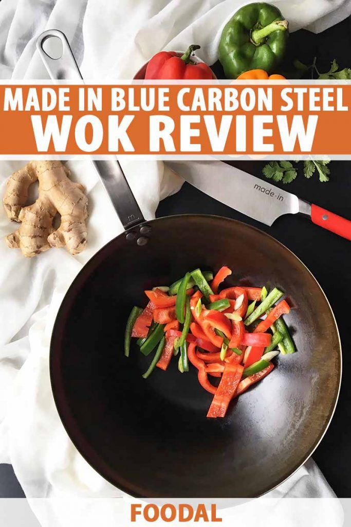 Vertical top-down image of a wok with assorted peppers next to a knife and ginger, with text on the top and bottom.