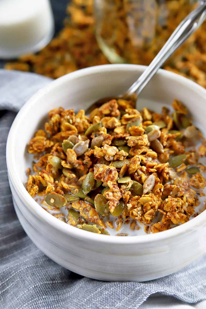 Vertical image of a white ceramic bowl of homemade pumpkin spice granola and milk with a spoon, on a gray cloth surface with more of the cereal in soft focus in the background.