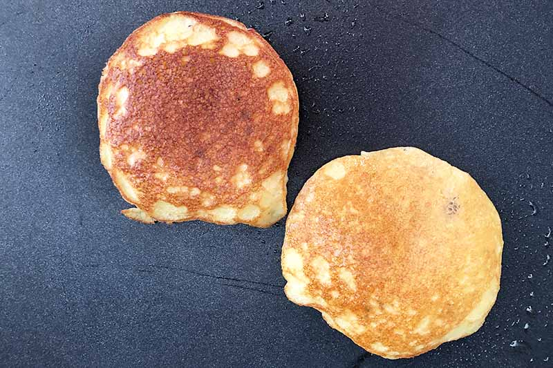 Horizontal image of two cooked small rounds of batter on a griddle.