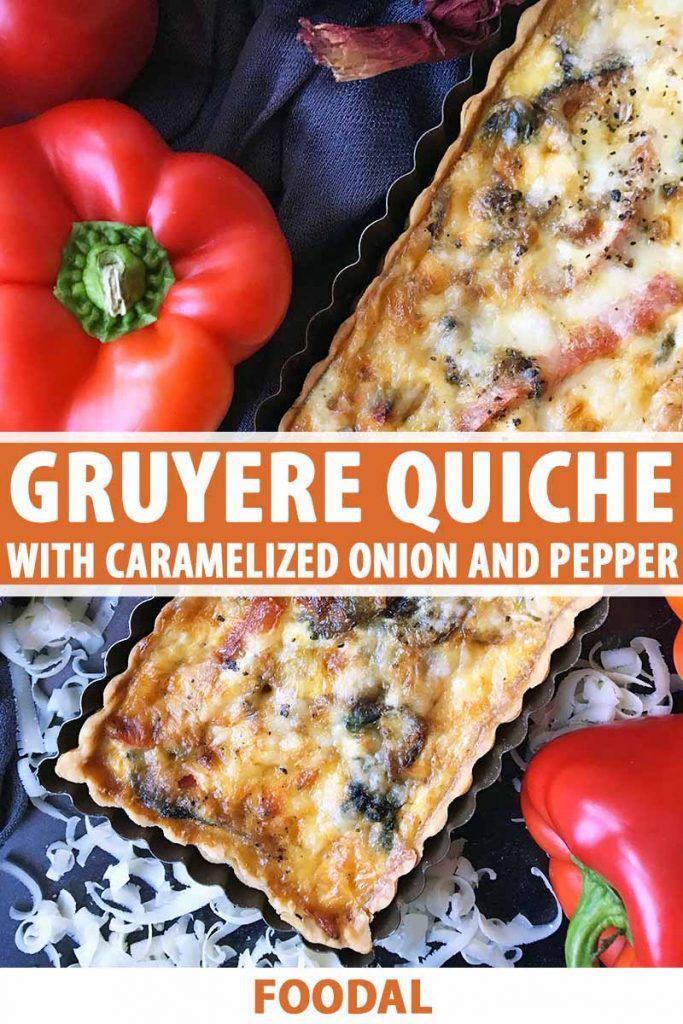 Vertical top-down image of a quiche with text on the bottom and in the middle of the image.