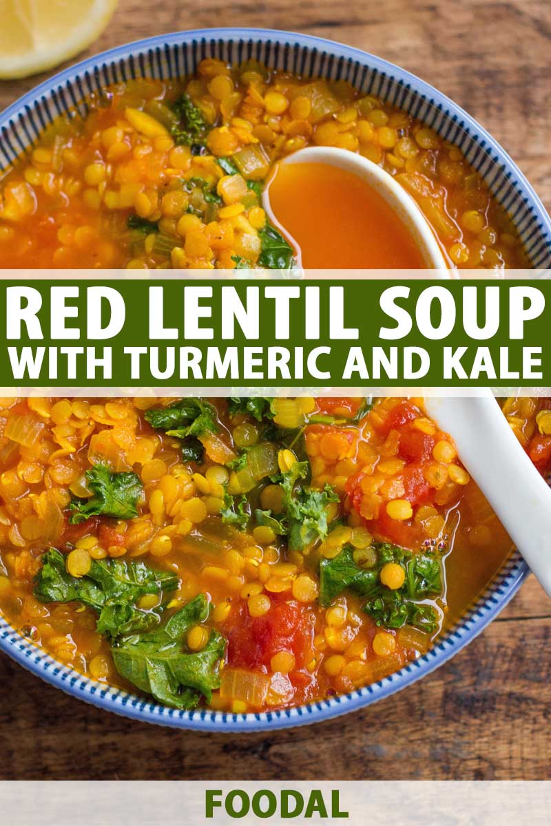 Close up top down view of a bowl of red lentil soup with turmeric and kale.